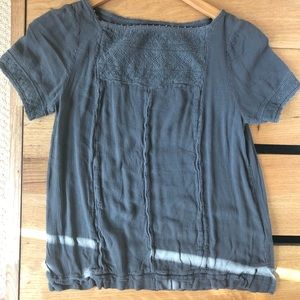 GAP Gray Embroidered Peasant Blouse